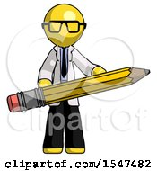 Yellow Doctor Scientist Man Writer Or Blogger Holding Large Pencil