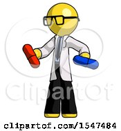 Yellow Doctor Scientist Man Red Pill Or Blue Pill Concept