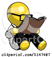 Poster, Art Print Of Yellow Doctor Scientist Man Reading Book While Sitting Down