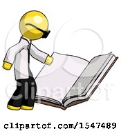 Poster, Art Print Of Yellow Doctor Scientist Man Reading Big Book While Standing Beside It
