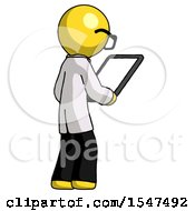 Yellow Doctor Scientist Man Looking At Tablet Device Computer Facing Away