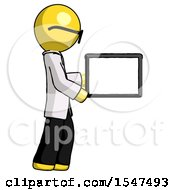 Yellow Doctor Scientist Man Show Tablet Device Computer To Viewer Blank Area