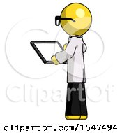 Yellow Doctor Scientist Man Looking At Tablet Device Computer With Back To Viewer