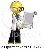 Yellow Doctor Scientist Man Holding Blueprints Or Scroll