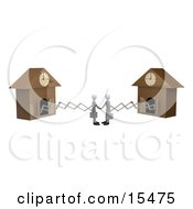 Two White Businessmen Sticking Out From Arms Of Cuckoo Clocks Shaking Hands Upon Agreement Of A Deal Clipart Illustration Image