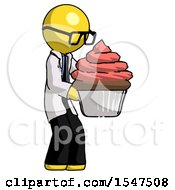 Yellow Doctor Scientist Man Holding Large Cupcake Ready To Eat Or Serve