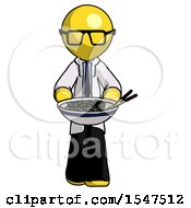 Yellow Doctor Scientist Man Serving Or Presenting Noodles
