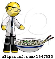 Yellow Doctor Scientist Man And Noodle Bowl Giant Soup Restaraunt Concept
