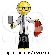 Yellow Doctor Scientist Man Holding Large Steak With Butcher Knife