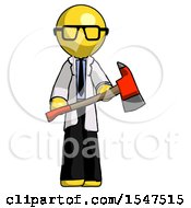 Yellow Doctor Scientist Man Holding Red Fire Fighters Ax