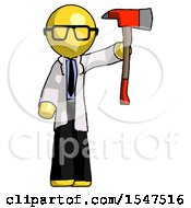 Yellow Doctor Scientist Man Holding Up Red Firefighters Ax