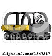 White Doctor Scientist Man Driving Amphibious Tracked Vehicle Side Angle View