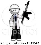 White Doctor Scientist Man Holding Automatic Gun