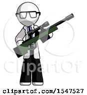 White Doctor Scientist Man Holding Sniper Rifle Gun