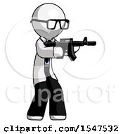 White Doctor Scientist Man Shooting Automatic Assault Weapon