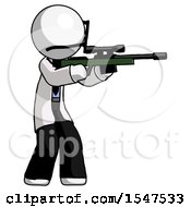 White Doctor Scientist Man Shooting Sniper Rifle