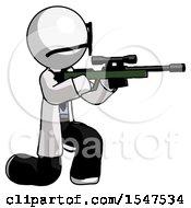 White Doctor Scientist Man Kneeling Shooting Sniper Rifle