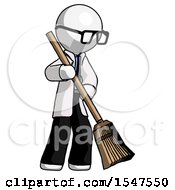 White Doctor Scientist Man Sweeping Area With Broom