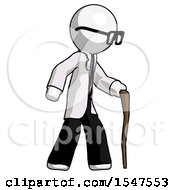 White Doctor Scientist Man Walking With Hiking Stick