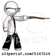 White Doctor Scientist Man Pointing With Hiking Stick