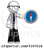 White Doctor Scientist Man Holding A Large Compass