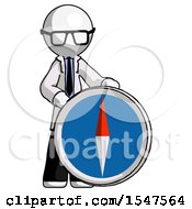 White Doctor Scientist Man Standing Beside Large Compass