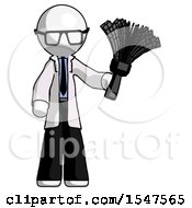 White Doctor Scientist Man Holding Feather Duster Facing Forward