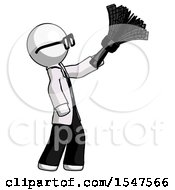 White Doctor Scientist Man Dusting With Feather Duster Upwards