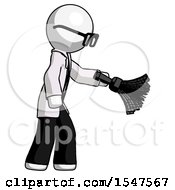 White Doctor Scientist Man Dusting With Feather Duster Downwards