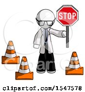 White Doctor Scientist Man Holding Stop Sign By Traffic Cones Under Construction Concept