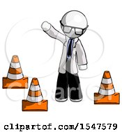 White Doctor Scientist Man Standing By Traffic Cones Waving