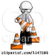 White Doctor Scientist Man Holding A Traffic Cone