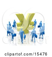 Circling Group Of Blue Businessmen Surrounding A Giant Golden Yen Symbol Clipart Illustration Image