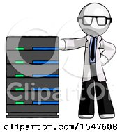 White Doctor Scientist Man With Server Rack Leaning Confidently Against It