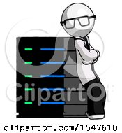 White Doctor Scientist Man Resting Against Server Rack Viewed At Angle