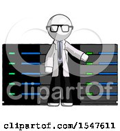 White Doctor Scientist Man With Server Racks In Front Of Two Networked Systems