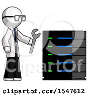 White Doctor Scientist Man Server Administrator Doing Repairs