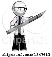 White Doctor Scientist Man Holding Large Scalpel