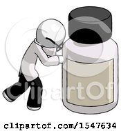 White Doctor Scientist Man Pushing Large Medicine Bottle