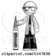 White Doctor Scientist Man Standing With Large Thermometer