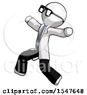 White Doctor Scientist Man Running Away In Hysterical Panic Direction Left