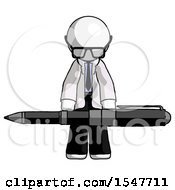White Doctor Scientist Man Weightlifting A Giant Pen