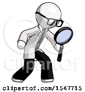 White Doctor Scientist Man Inspecting With Large Magnifying Glass Right