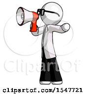 White Doctor Scientist Man Shouting Into Megaphone Bullhorn Facing Left