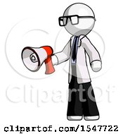 White Doctor Scientist Man Holding Megaphone Bullhorn Facing Right