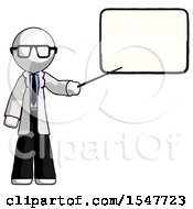 White Doctor Scientist Man Giving Presentation In Front Of Dry Erase Board