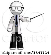 White Doctor Scientist Man Teacher Or Conductor With Stick Or Baton Directing