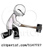 White Doctor Scientist Man Hitting With Sledgehammer Or Smashing Something