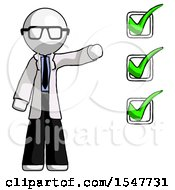 White Doctor Scientist Man Standing By List Of Checkmarks
