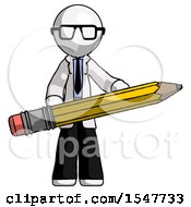 White Doctor Scientist Man Writer Or Blogger Holding Large Pencil